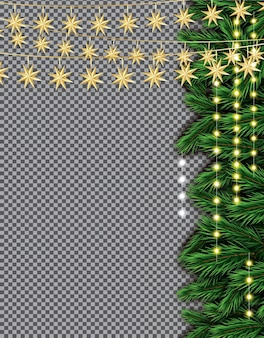 Fir branch with neon lights on transparent background. merry christmas and happy new year.