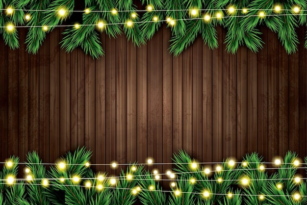 Fir branch with neon lights on wooden background. vector illustration.