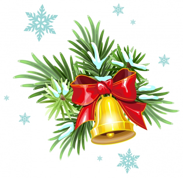 Fir branches, red ribbon and golden bell. christmas decoration