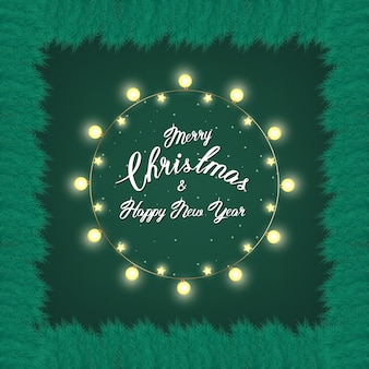 Fir branchs and christmas lights background