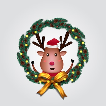 Fir garland decoration with cute  reindeer character for merry christmas and happy new year
