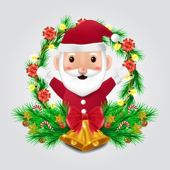 Fir garland decoration with cute  santa character for merry christmas and happy new year