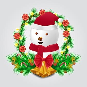 メリークリスマスと新年あけましておめでとうございますのためのかわいい雪だるまのキャラクターとモミの花輪の装飾