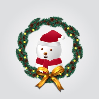 Fir garland decoration with cute  snowman character for merry christmas and happy new year