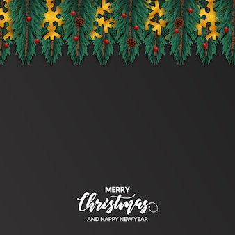 Fir leaves garland decoration for merry christmas
