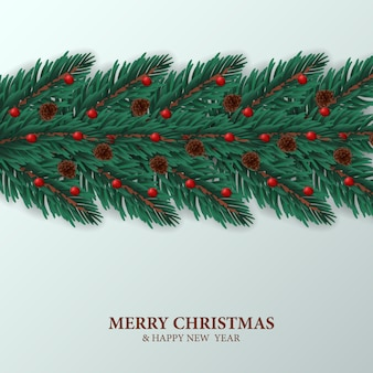 Fir leaves garland decoration template white greeting card