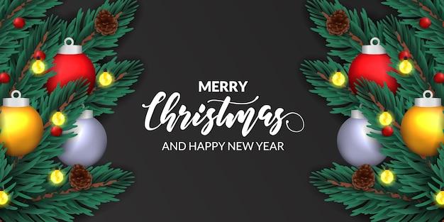 モミの葉松飾り、クリスマスポスターバナーテンプレートの安物の宝石の球飾り