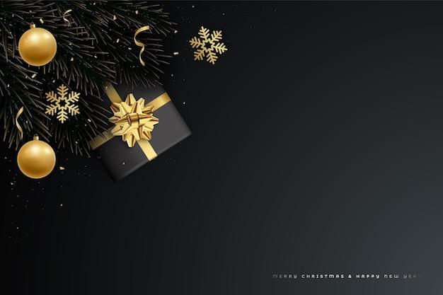 モミの木の枝、豪華な金の装飾