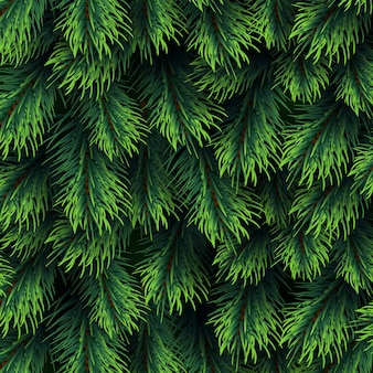 Fir tree branches pattern. christmas background with green pine branching. happy new year vector decor