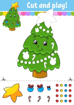 モミの木カットアンドグルー子供のためのカラーアクティビティワークシート