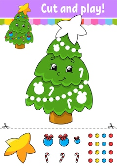 Fir tree cut and glue color activity worksheet for kids