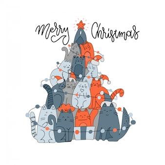Елка из кошек. ель домашняя. рождественская елка от кота. новый год fkat каракули рисованной иллюстрации. мас шаблон милого животного с надписью текст приветствия рождеством