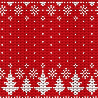 Fir-tree and snowflake seamless pattern, christmas vector