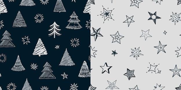 Fir tree stars pattern. christmas new year background, xmas tree and decorations illustration. winter scandinavian vector seamless texture. christmas pattern texture seamless, xmas ornament decoration