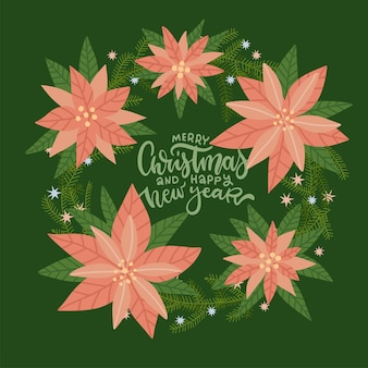 Fir wreath decorated with poinsettia fir branches and stars beautiful lettering inscription merry ch...