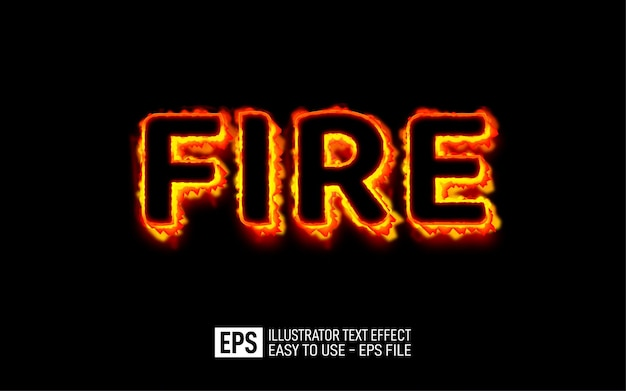 Fire 3d text editable style effect template