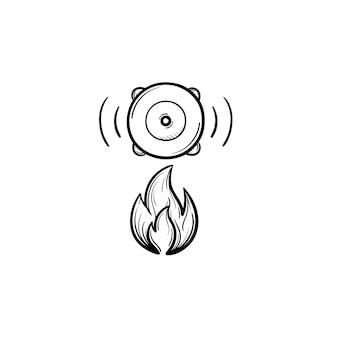 火災警報器の手描きのアウトライン落書きアイコン。白い背景で隔離の印刷物、ウェブ、モバイル、インフォグラフィックの人々の安全ボタンベクトルスケッチイラストの指を押す火のサイレン。
