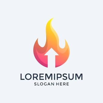 Огонь и стрелка вверх дизайн логотипа