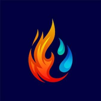 冷凍ロゴ用の火と水をドロップ