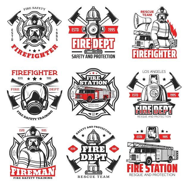 消防および消防部門のアイコン、消防士のヘルメットおよび斧のバッジ。消火栓、安全ヘルメット、消防車のはしご、消防緊急標識が付いた消防士救助隊のエンブレム