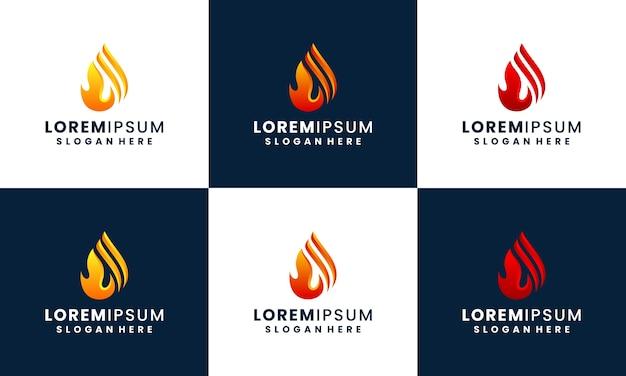 火と炎のロゴのデザインコレクションテンプレート