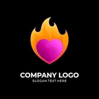 火とハートのロゴデザインの組み合わせ、3dスタイル