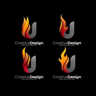 화재 및 문자 u 로고 템플릿, 추상 화재 및 문자 u 로고 디자인 조합