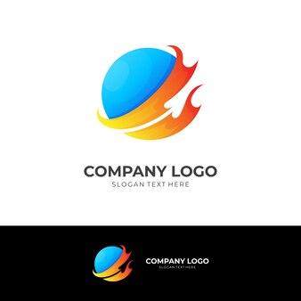 Концепция логотипа огня и планеты с 3d-синим и оранжевым цветовым стилем