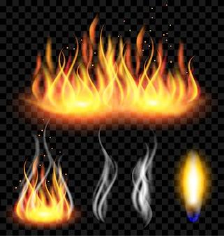 Огонь и дым на полупрозрачном фоне