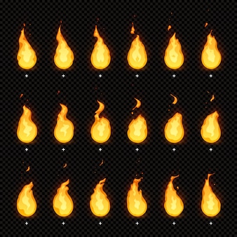 Fire animation. flaming flame, fiery blaze and animated blazing fire flames isolated animations frames