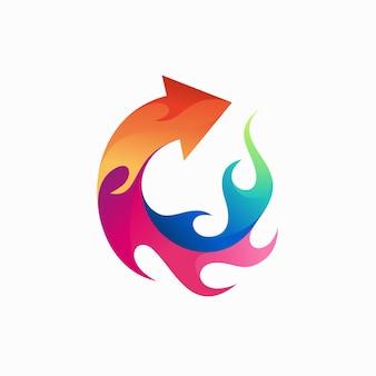 그라디언트 색상 개념이 있는 화재 화살표 로고