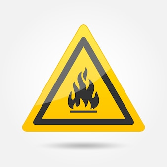 Fire attention danger symbol icon emblem isolated on white background vector illustration