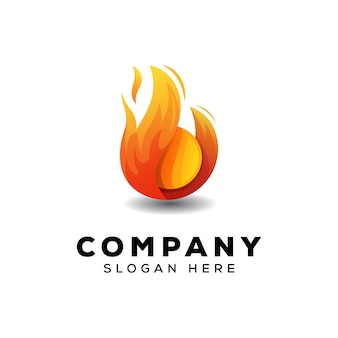 Fire ball logo design template