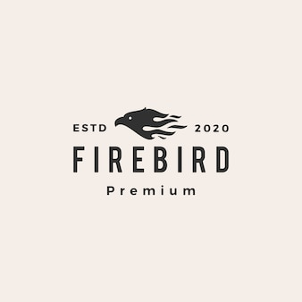 Fire bird hipster vintage logo icon illustration