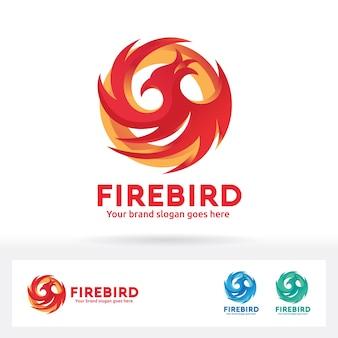 Fire bird logo. phoenix bird brand identity
