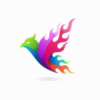 Логотип огненной птицы с концепцией пламени