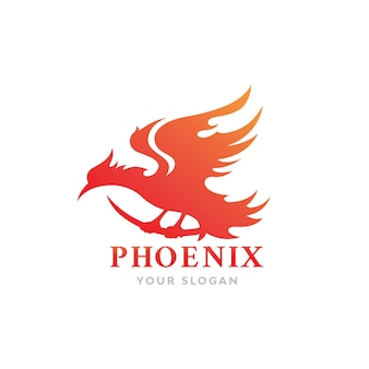 Огненная птица феникс дизайн логотипа