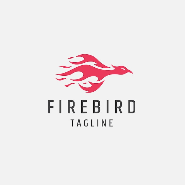 Fire bird red flame logo icon design template illustration