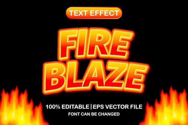 Fire blaze 3d 편집 가능한 텍스트 효과