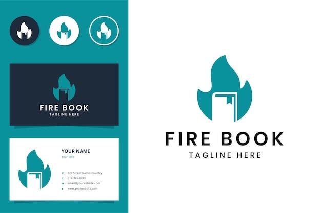 Fire book negative space logo design