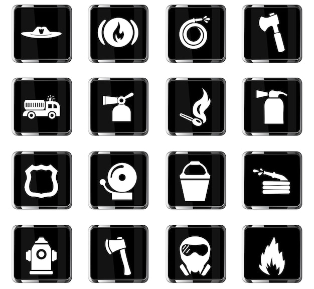 Fire brigade vector icons for user interface design