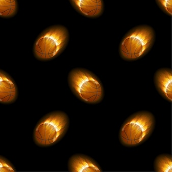 Fire burning basketball with background black pattern. vector stock illustration.