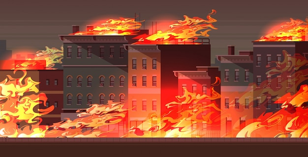 Fire in burning buildings on city street orange flame cityscape background flat horizontal