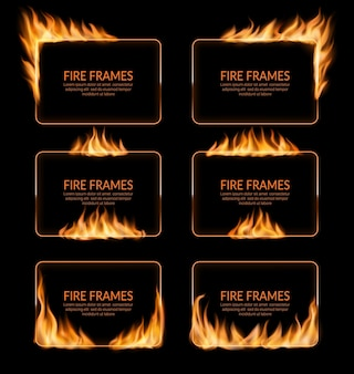 Fire burning flame frames, banners and fiery borders