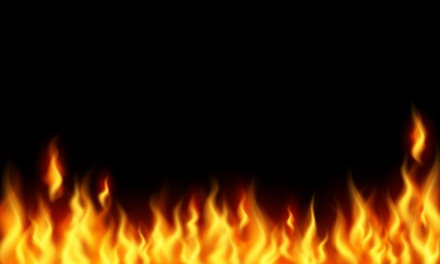 Fire burning red hot sparks realistic flames abstract background