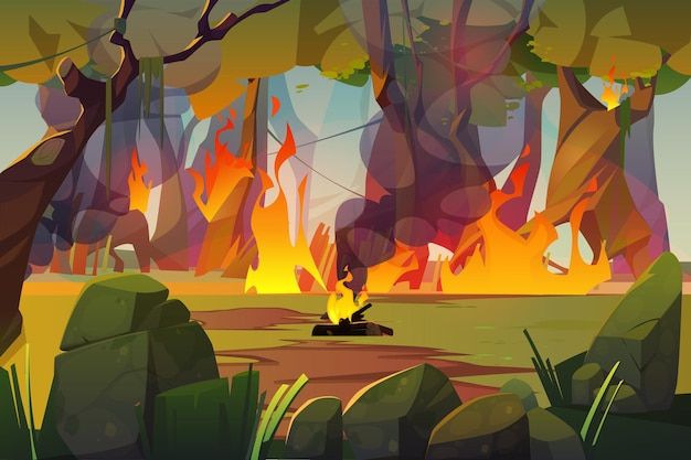 Fire in camping and burning forest illustration