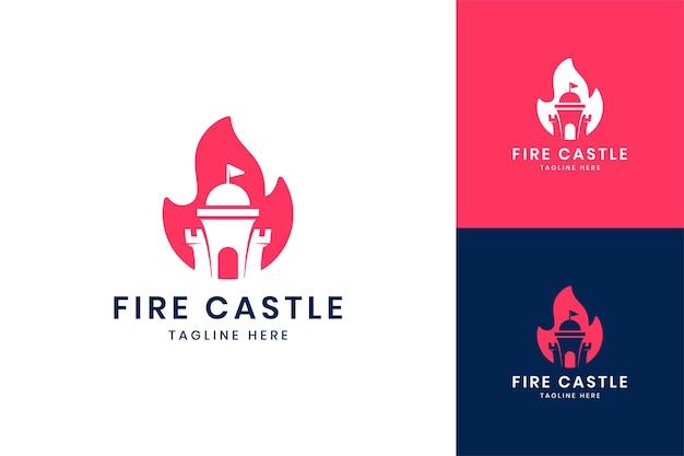 Fire castle negative space logo design
