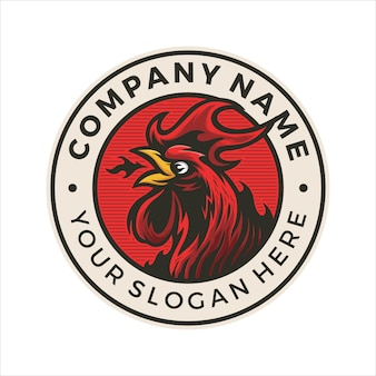 Fire chicken logo badge