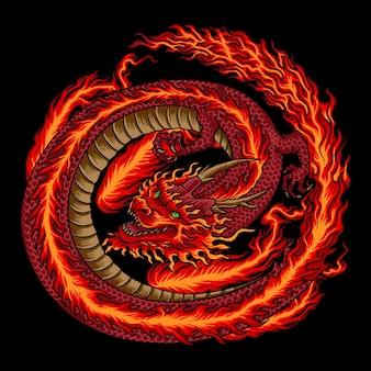 Огонь китайский красный дракон иллюстрация