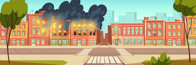 Fire in city house, burning building cartoon